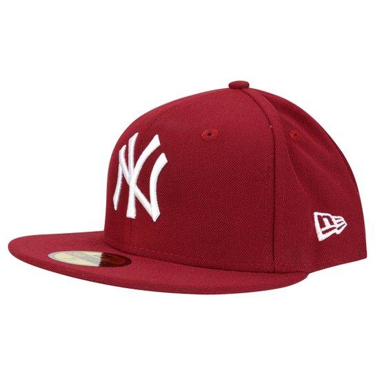 Boné New Era 5950 MLB Basic Colors New York Yankees - Vermelho Escuro 10daf2792f7