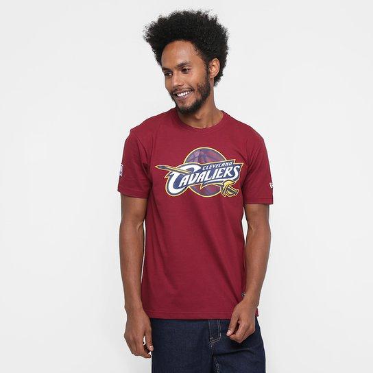 Camiseta New Era NBA Basic Logo Cleveland Cavaliers - Vinho - Compre ... cd238bf30280f