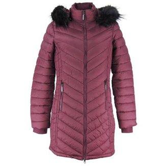 76b179a40 Casaco Longo Feminino Elegance Winter com capuz removível