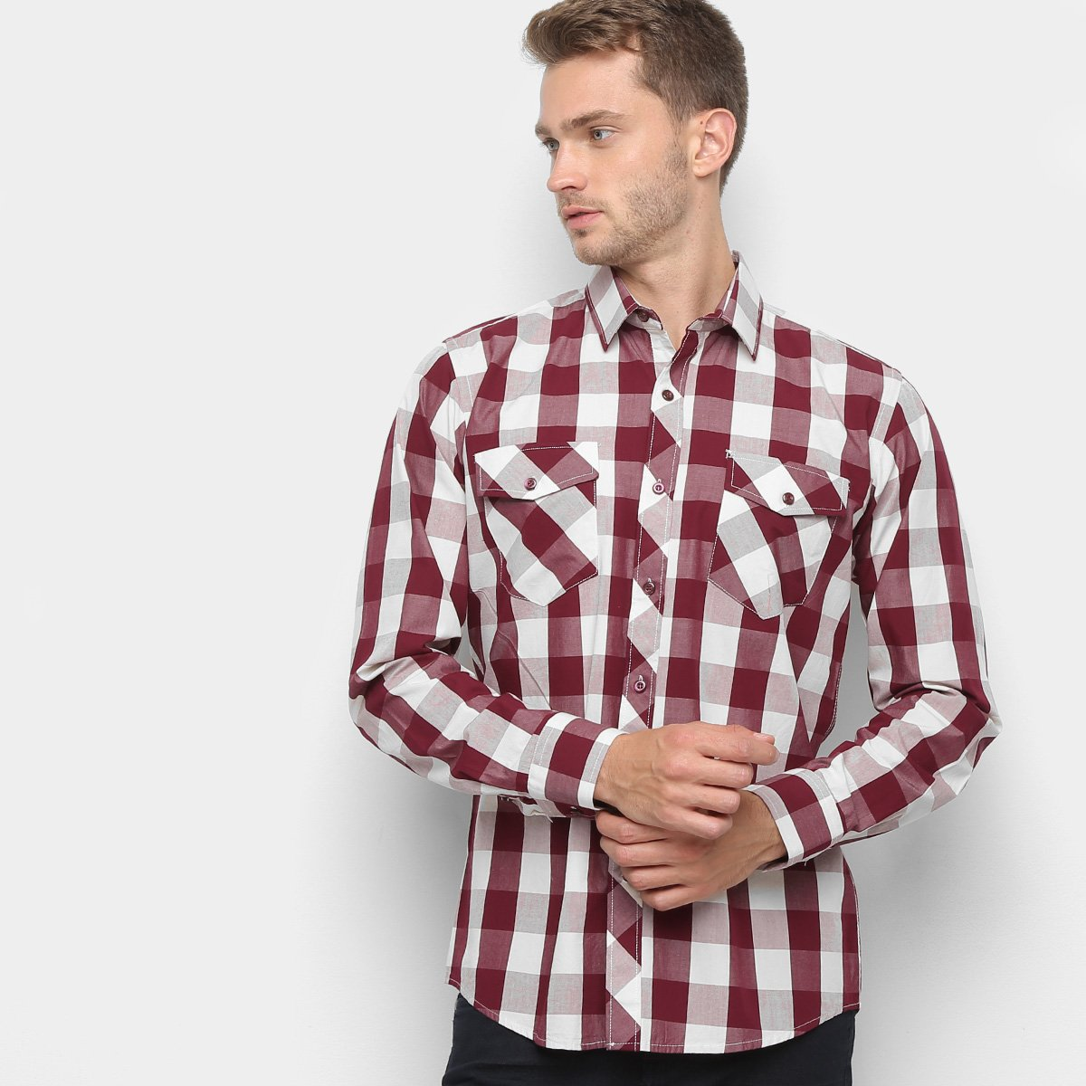 9f909b0fbbf4 Camisa Xadrez Watkins & Krown Masculina - Tam: 5 - Shopping TudoAzul