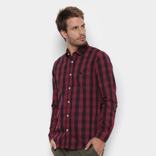 6b4db98de4 Camisa Manga Longa Acostamento Estampada Masculina - Vinho   Netshoes
