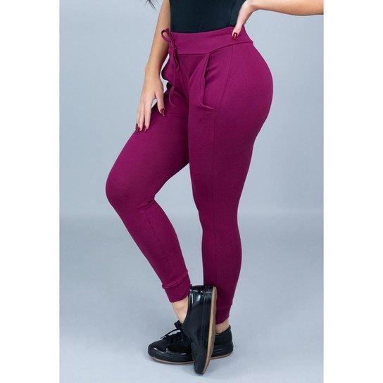 703388b07 Calça Moletom Ribana Mvb Modas Cintura Alta Feminina - Vinho | Netshoes