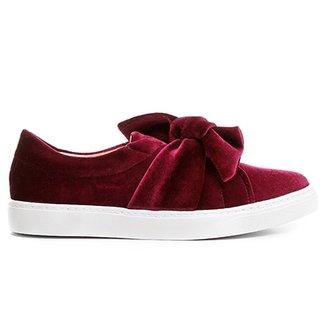 8421347bb Slip On Shoestock Laço Veludo