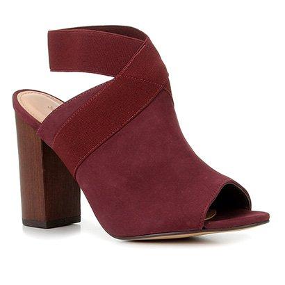 Sandália Couro Shoestock Nobuck Elástico Salto Bloco Alto Feminina