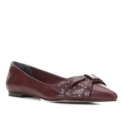 Sapatilha Couro Shoestock Bico Fino Laço Metais Feminina