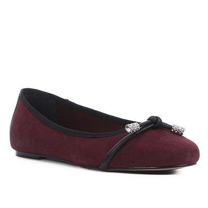 Sapatilha Couro Shoestock Nobuck Strass Feminina