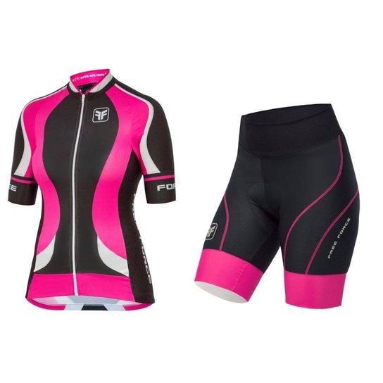 9aaed9d23 Conjunto de ciclismo feminino Princess - Free Force - Preto+Rosa