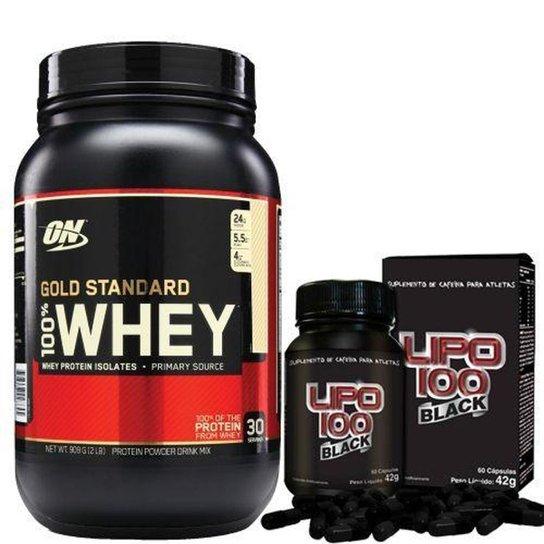 dad94dabc Kit Whey Protein 100% Gold Standard 909g Doce de Leite + Lipo 100 Black  Intlab