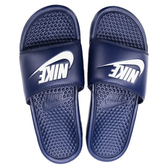 8db0414467d Sandália Nike Benassi JDI Masculina - Marinho e Branco - Compre ...