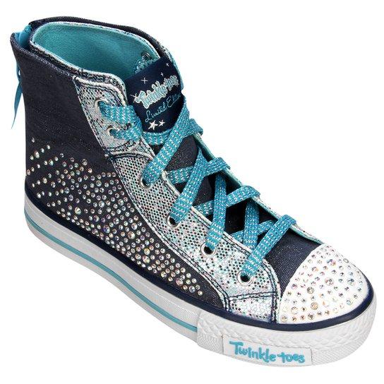 49d3c3e37 Tênis Skechers Shuffles Rock Beauty Infantil - Azul Claro+Marinho