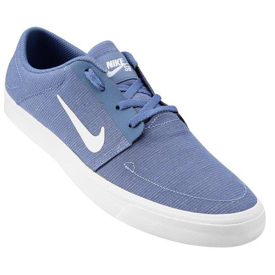 1c97e57f6a Tênis Nike Sb Portmore Cnvs - Azul Claro+Branco