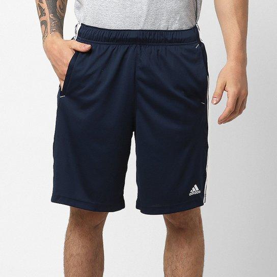 fb3b9e969 Bermuda Adidas Knit ESS 3S 2 Masculina - Marinho e Branco | Netshoes