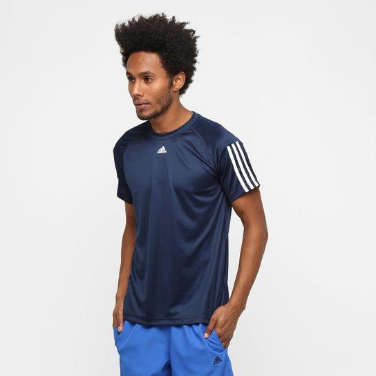 Camiseta Adidas Base 3S Masculina - Marinho+Branco 87ad9335cf26b