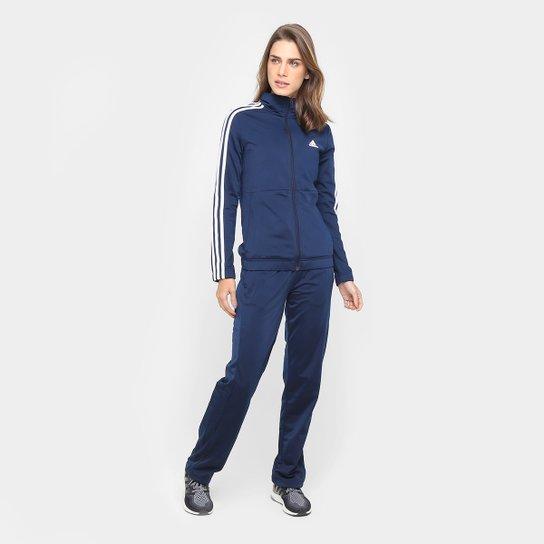 eda0b9ad0b 23f5b9fb596 Agasalho Adidas Back 2 Basic 3S Feminino - Marinho e Branco -  Compre .