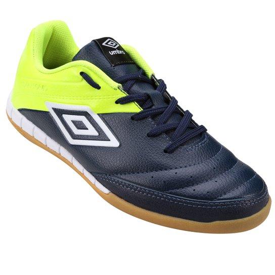 92ad59e0fac59 Chuteira Futsal Umbro Diamond 2 - Marinho+Verde Limão