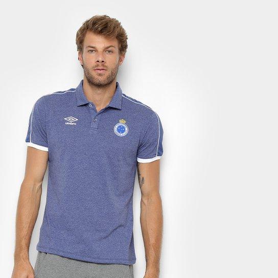 75a71c85f Camisa Polo Cruzeiro 2019 Viagem Umbro Masculina - Marinho e Branco