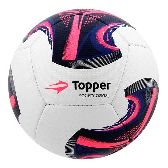 6af9039cc8708 Bola Futebol Society Topper V12 - Branco+Azul Royal