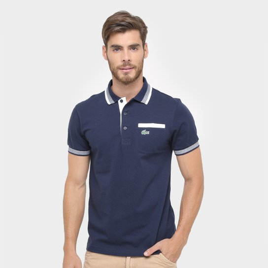 32df4953bf1 Camisa Polo Lacoste Yh93 Masculina - Marinho+Branco ...