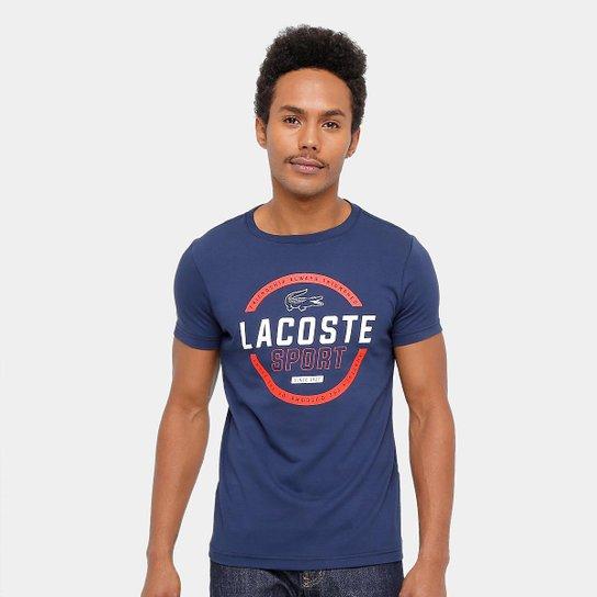 921815f4564 Camiseta Lacoste Th9 Masculina - Marinho+Branco