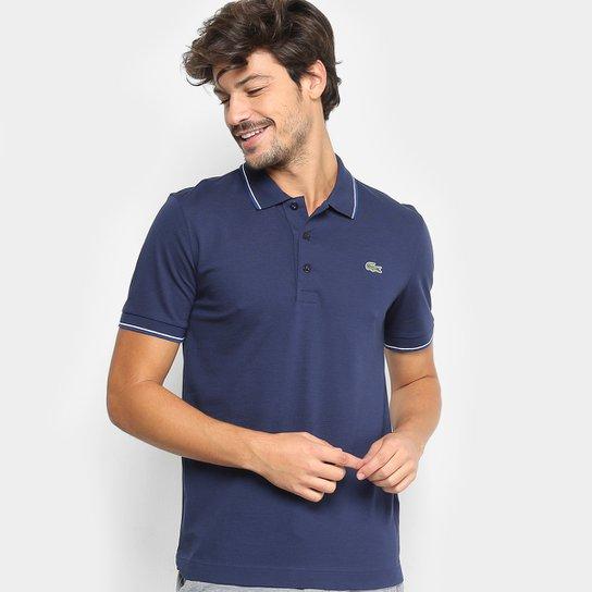Camisa Polo Lacoste Frisos Masculina - Marinho e Branco - Compre ... 4b3009b664746