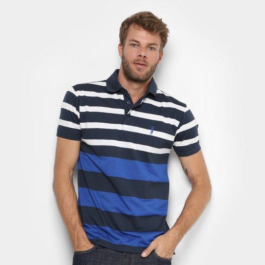 Camisa Polo Aleatory Listrada Masculina - Marinho+Branco 5c591a378c494