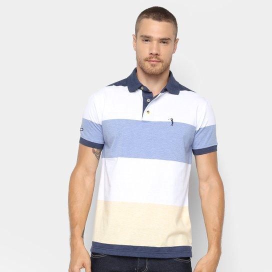Camisa Polo Aleatory Estampa Listrada Masculina - Marinho e Branco ... d7ec3adab895e
