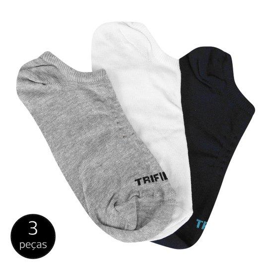 Meia Invisível Trifil 3 Pares Masculina - Marinho e Branco