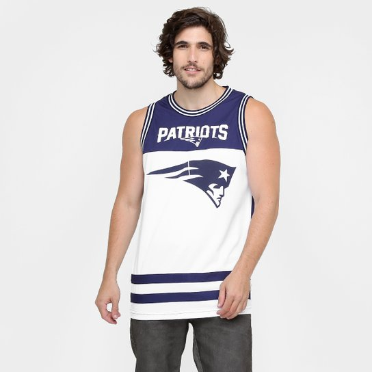 Camiseta Regata New Era NFL Double Stripes New England Patriots - Marinho +Branco 75ae5f8f833