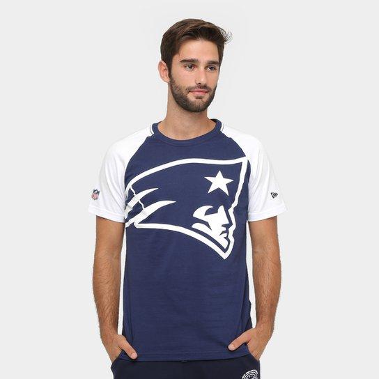 Camiseta New England Patriots New Era NFL Big Logo Raglan Masculina -  Marinho+Branco 97ac03aef8add
