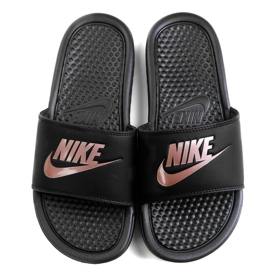 5fd32a4a8b4bf3 Chinelo Nike Benassi JDI Slide Feminina - Preto e Pink