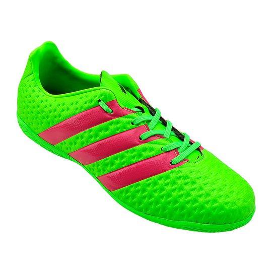 e8378f072e Tênis Futsal Adidas Ace 16 4 In J - Verde Limão+Roxo