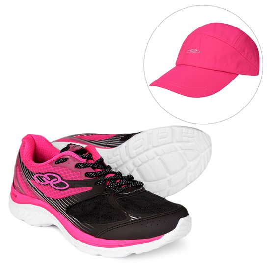 4c6d49450f Kit Tênis Olympikus Like Feminino + Boné Olympikus Aba Curva Essential -  Preto+Pink