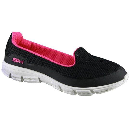 f8cab1dc0 Tênis Beira Rio Slip On Active Feminino - Preto e Pink | Netshoes