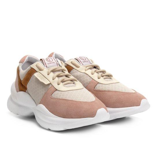32065dc27 Tênis Chunky Dumond Sneaker Recortes Feminino - Bege e Rosa | Netshoes