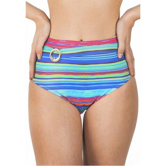 efec50fd8dd4f Calcinha de Biquíni Cintura Alta Hot Pants Com Metal Floripa - Azul  Turquesa+Rosa