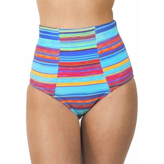 0900f3f52db29 Calcinha de Biquíni Cintura Alta Hot Pants Floripa - Azul Turquesa+Rosa