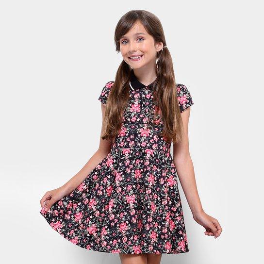 34b421f74 Vestido Infantil Lilica Ripilica Polo Estampado - Preto+Pink