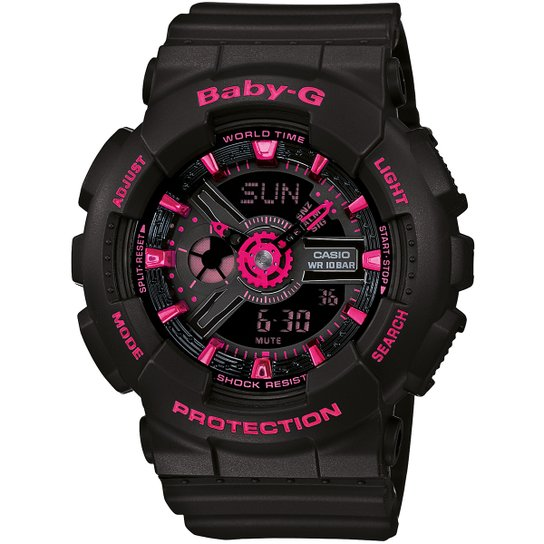 557f2f03b84 Relógio Baby-G BA-110-7A - Preto e Pink - Compre Agora