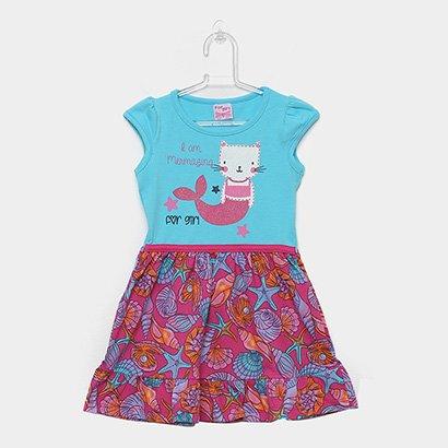 Vestido Infantil For Girl Curto Evasê Estampa Conchas