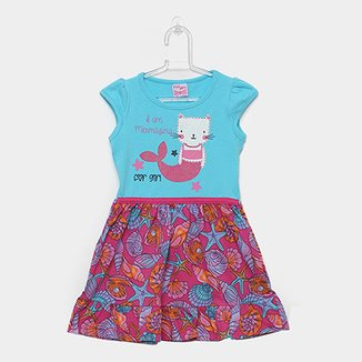 26fac9450 Vestido Infantil For Girl Curto Evasê Estampa Conchas