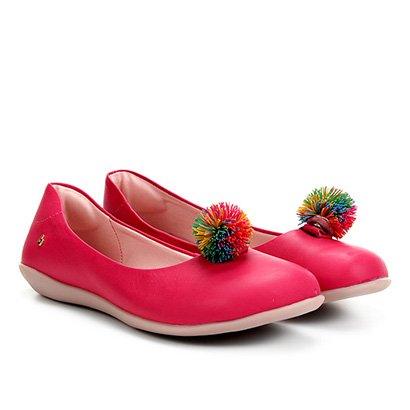 Sapatilha Infantil Couro Bibi Pompom Colors Feminina