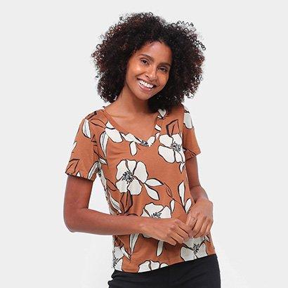 Camiseta Mob Floral Gola V Feminina