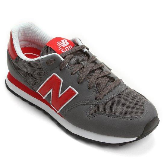 8b74a0b37b3 Tênis New Balance GM500 Retrô Running - Chumbo+Vermelho