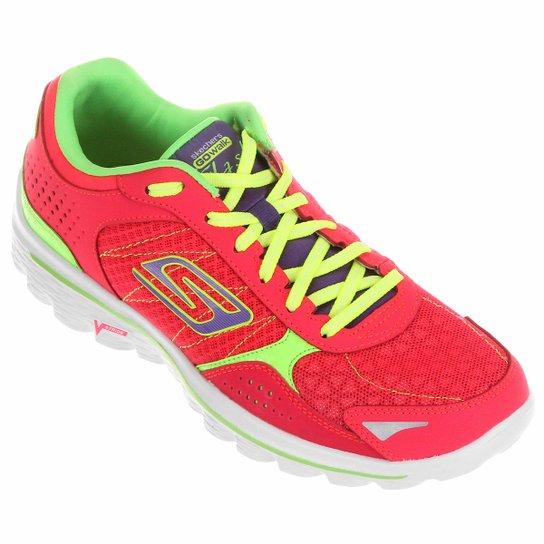 5205aaaf532 Tênis Skechers GO Walk 2 Flash Feminino - Vermelho Claro