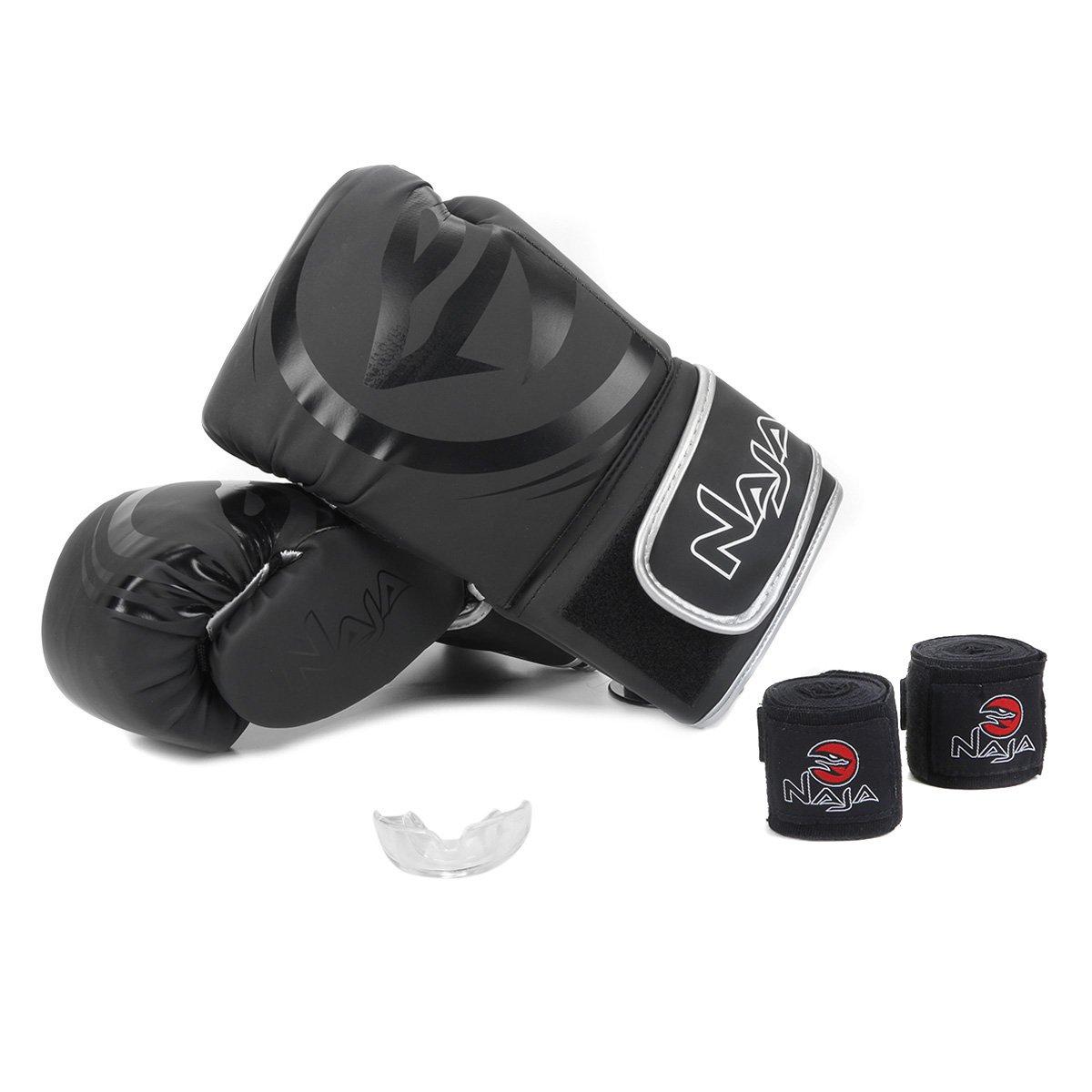 Kit Luva de Boxe/ Muay Thai Naja Black 14 Oz + Bandagem + Protetor Bucal + Bag