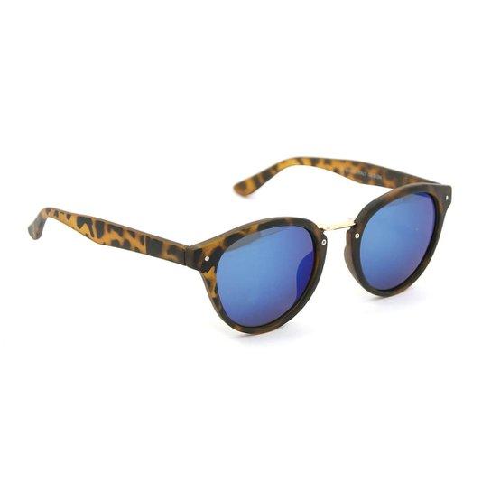 Óculos Oncinha com Lente Espelhada Azul - Marrom - Compre Agora ... a569cb2b0f