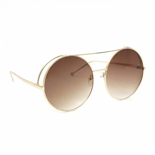 d678a9b3b Óculos de Sol Top Bar Redondo - Marrom | Netshoes