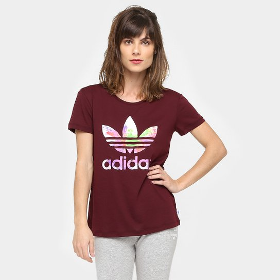 ac1471bfb674e Camiseta Adidas Originals Graphic Trefoil - Vinho ...