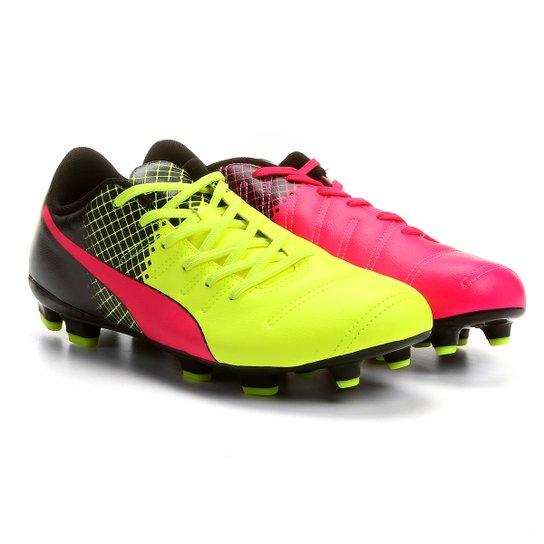 629e9039f6 Chuteira Puma Evopower 4.3 Tricks FG Campo - Pink e Amarelo - Compre ...