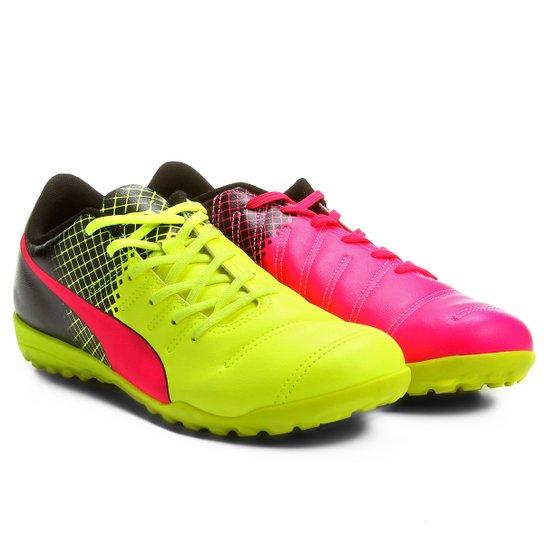 08dd8fa45423f Chuteira Society Puma Evopower 4.3 Tricks TT Masculina - Pink+Amarelo
